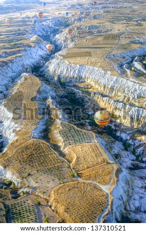 Hot air balloons above a gorgeous landscape of Cappadocia in Turkey