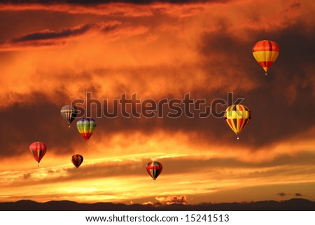 Hot-air balloons and sunset over Tigard, Oregon