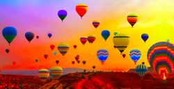 hot air balloons festival in sunrise flight sky view
