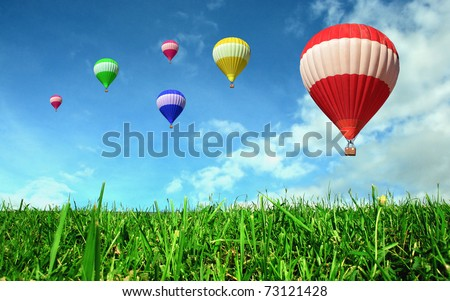 Hot air balloons floating over green field