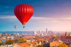 Hot air balloons flying over Vilnius