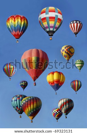 Hot Air Balloons in Mass Ascension, vertical