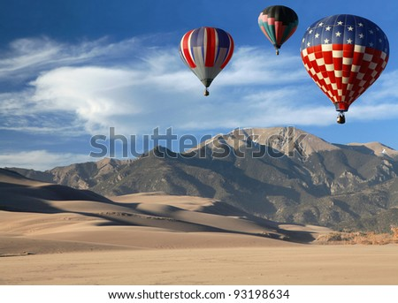 Hot Air Balloons Over  Colorado Landscape
