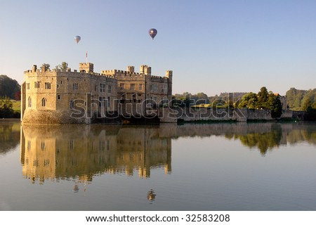 Hot air balloons over Leeds Castle