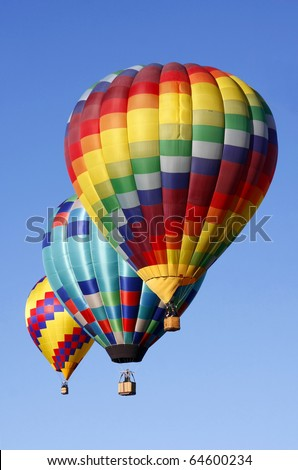 Hot Air Balloons Soaring in a Blue Sky