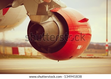 Hot air behind the aircraft engine.