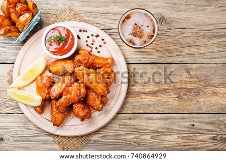 Hot and Spicy Buffalo Chicken Wings.top view.