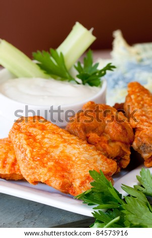 Hot and Spicy Buffalo Wings with Blue Cheese Dipping Sauce