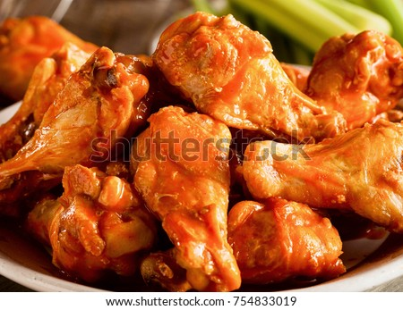 Hot and spicy, delicious deep fried buffalo chicken wings.