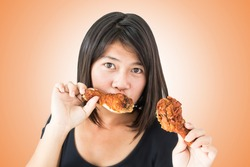 Hot And Spicy ,Girl With Fried Chicken
