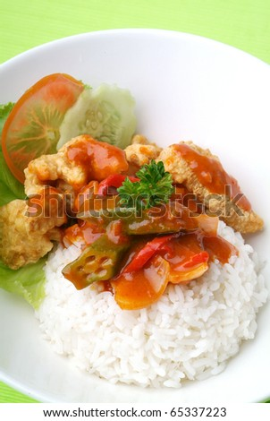 hot and spicy meat with white rice