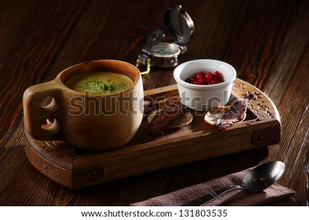 hot and tasty european soup with vegetables
