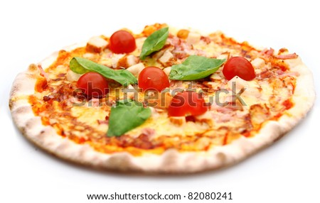 Hot and tasty pizza isolated on white background