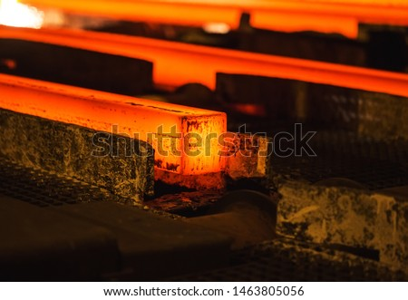 Hot billet (bloom) continuous casting, also called strand casting #1463805056