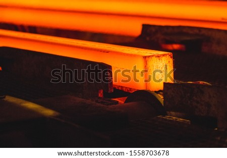 Hot billet (bloom) continuous casting, also called strand casting #1558703678