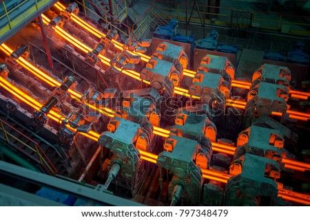 Hot billet (bloom) continuous casting, also called strand casting #797348479