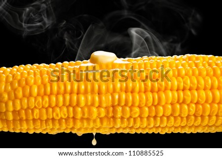 hot boiled corn on black background