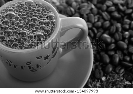 hot  boiling coffee, black and white