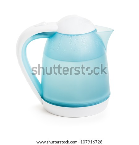 Hot boiling water in domestic kitchen electric kettle teapot white isolated - stock photo