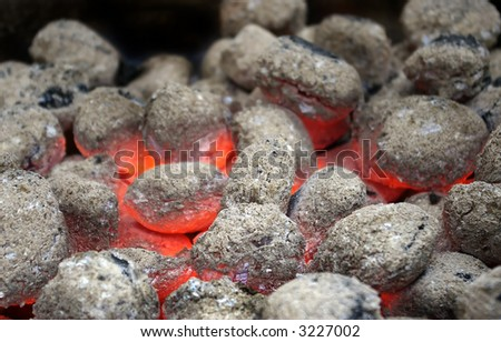 hot burning coal in barbeque