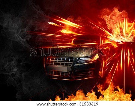 Hot car.  Series of fiery illustrations.