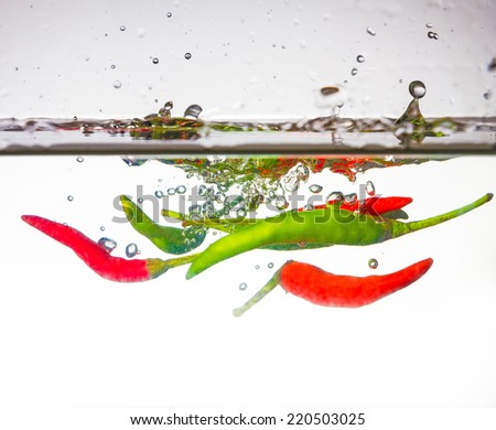 hot chili pepper dropped into water with splash
