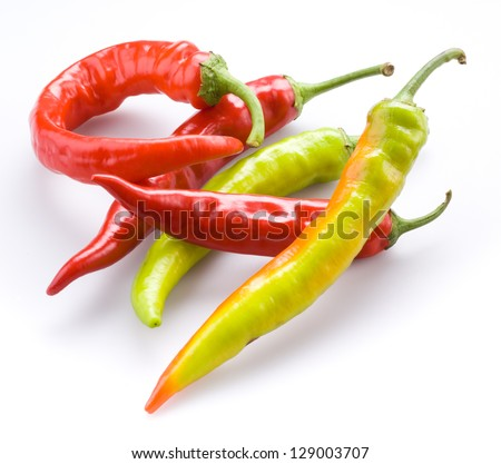 hot chili peppers isolated on a white background