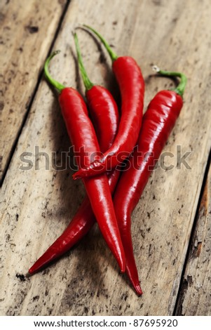 hot chili peppers on wooden desk