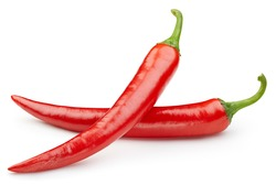 Hot chili peppers. Peppers chili full macro shoot food ingredient on white isolated. Clipping path hot chili peppers