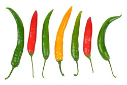 hot chilli peppers isolated on white background