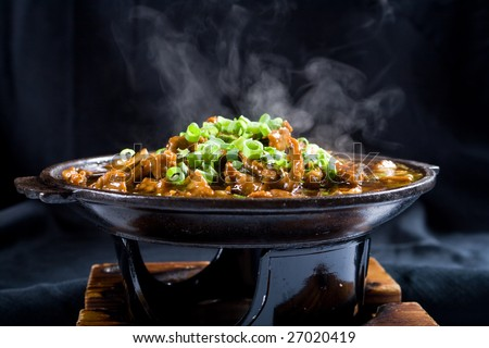 hot chinese cooking with steam