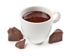 Hot chocolate and chocolate pieces isolated on white background