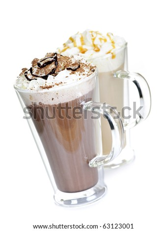 Hot chocolate and coffee beverages with whipped cream isolated on white background