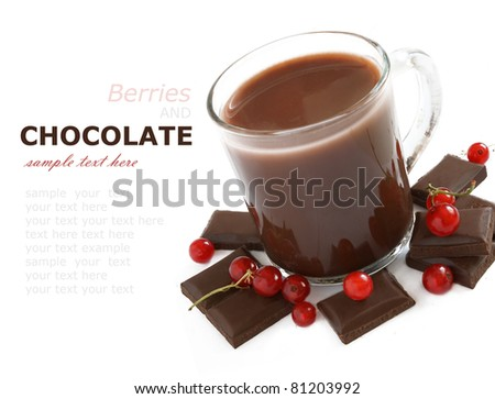 Hot chocolate and red raspberries isolated on white with sample text