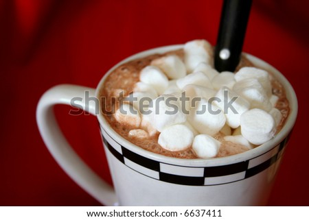 hot chocolate in a mug with marshmallows