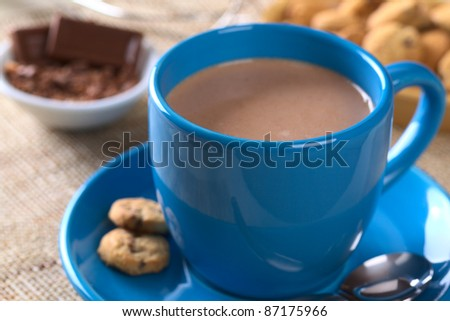 Hot chocolate in blue cup with cookies on saucer and chocolate in the back (Selective Focus, Focus on the front of the cup)