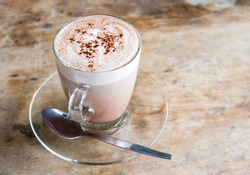 hot chocolate in clear cup