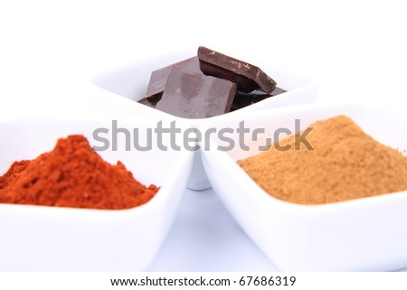 Hot chocolate ingredients: pieces of chocolate, cinnamon and powdered chili