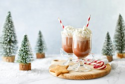 Hot chocolate or coffee with whipped cream  served with a candy cane, marshmallows, and gingerbread star, front view, winter holidays treats concept
