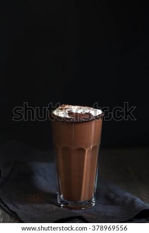 Hot chocolate shake with ice-cream on the black background #378969556