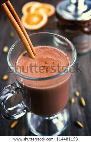 Hot chocolate with cinnamon stick in a cup
