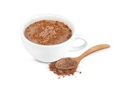 hot chocolate with coffee cup and cocoa powder isolated on white background