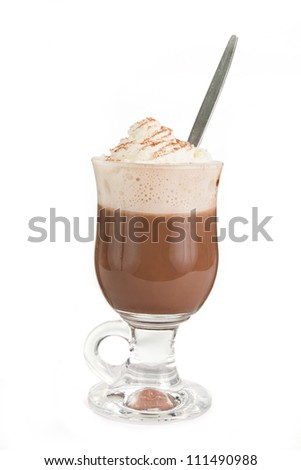 Hot chocolate with cream on top over white