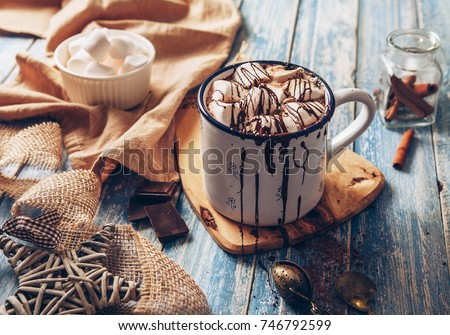 Hot chocolate with marshmallow #746792599