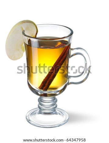 Hot cider isolated on white with shadow