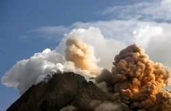 Hot Cloud Explotion of Merapi Mountain, Yogyakarta