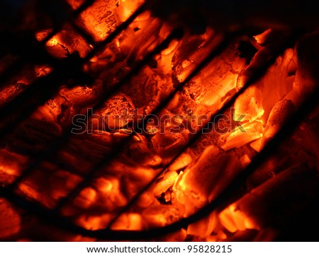 hot coal at barbecue