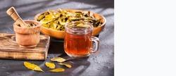 Hot coca leaf tea - Erythroxylum coca.