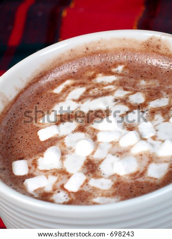 Hot cocoa and marshmallows close-up