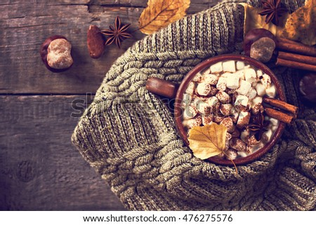Hot cocoa with marshmallows with spices on the old wooden boards. Coffee, cocoa, cinnamon, nuts, star anise, cozy sweater\Autumn Still Life